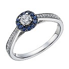 9ct white gold 1/3 carat diamond & sapphire ring - Product number 1720406