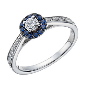 9ct white gold 0.33 ct diamond & sapphire ring - Product number 1720406