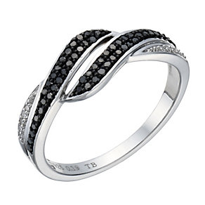 Vivid sterling silver black coloured & white diamond ring - Product number 1720554