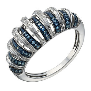 Vivid sterling silver white & treated blue diamond ring - Product number 1720708