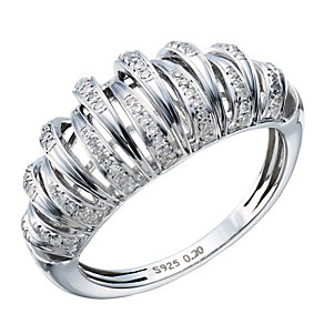 Sterling silver 20 point white diamond ring - Product number 1720848