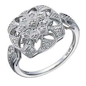 Sterling silver 10 point diamond ring - Product number 1720988
