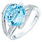 9ct white gold blue topaz & diamond ring - Product number 1721259