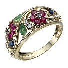 9ct gold diamond & multi coloured gemstone ring - Product number 1721402