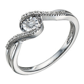 9ct white gold 10 point diamond ring - Product number 1721755