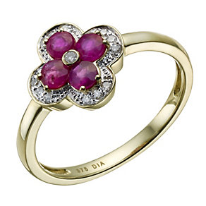 9ct gold ruby & diamond flower ring - Product number 1721895