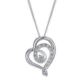 Sterling silver diamond set heart pendant - Product number 1723332