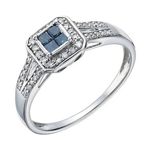 Sterling silver treated blue & white diamond ring - Product number 1723340