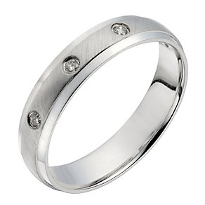 9ct white gold diamond matte & polished 4mm wedding ring - Product number 1728059
