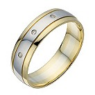 9ct white & yellow gold diamond 6mm wedding ring - Product number 1728474