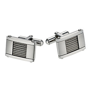 Stainless steel wire detail cufflinks - Product number 1729373