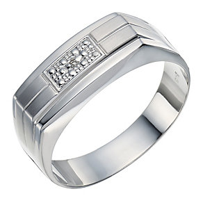 9ct white gold diamond set square top matt ring - Product number 1729403
