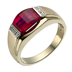 9ct gold created ruby & diamond ring - Product number 1730533
