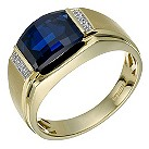 9ct gold diamond & created sapphire ring - Product number 1730673