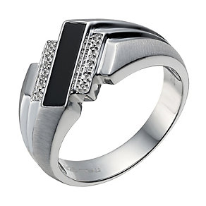 Sterling silver diamond & onyx angular ring - Product number 1730959