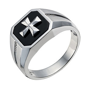 Sterling silver cross detail diamond set square ring - Product number 1731424