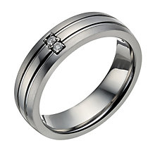 Titanium matt & polished diamond set ring - Product number 1732110