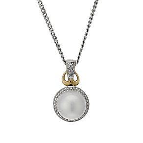 Sterling Silver & 9ct Gold Pearl & Diamond 18