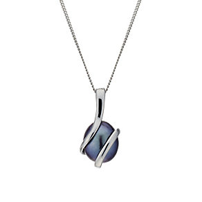 9ct White Gold Black Coloured Pearl Wrap Pendant - Product number 1734830