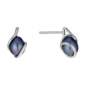 9ct White Gold Black Coloured Pearl Wrap Stud Earrings - Product number 1734849