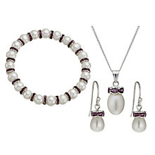 Silver-Plated Crystal Bracelet, Pendant & Drop Earrings Set - Product number 1734857
