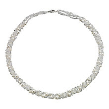Sterling Silver Freshwater Pearl & Crystal Wrap Necklace - Product number 1734865