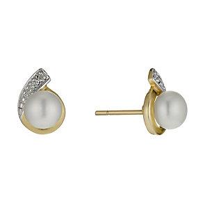 9ct Gold Freshwater Pearl & Diamond Teardrop Stud Earrings - Product number 1734873
