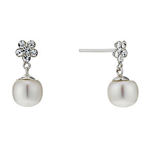 Sterling Silver Freshwater Pearl Cubic Ziconia Drop Earrings - Product number 1734881