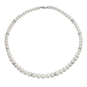 "9ct White Gold Certified Pearl & Diamond 17"" Necklace - Product number 1734954"