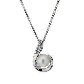 "Sterling Silver Freshwater Pearl 18"" Curve Pendant - Product number 1735373"