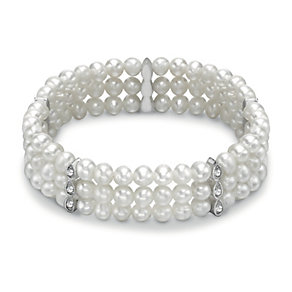 Silver Plated Freshwater Pearl & Crystal Bracelet - Product number 1735411