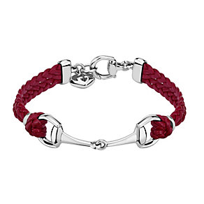Gucci red leather & sterling silver horsebit bracelet - Product number 1735721