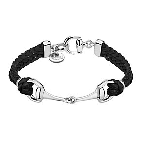 Gucci black leather & sterling silver horsebit bracelet - Product number 1735748