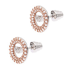 Emporio Armani Rose Gold Tone Pave Stone Set Stud Earrings - Product number 1735942