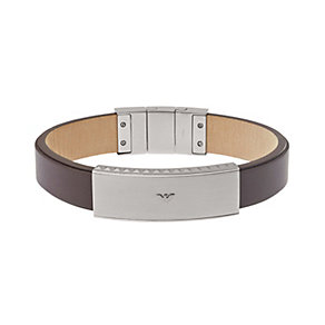 Emporio Armani men's stainless steel brown leather bracelet - Product number 1735977