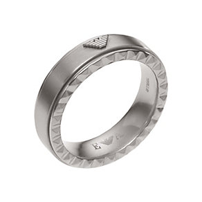Emporio Armani men's stainless steel logo stud detail ring - Product number 1735993
