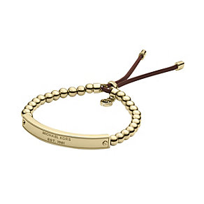 Michael Kors gold-plated bead & leather stretch ID bracelet - Product number 1736043