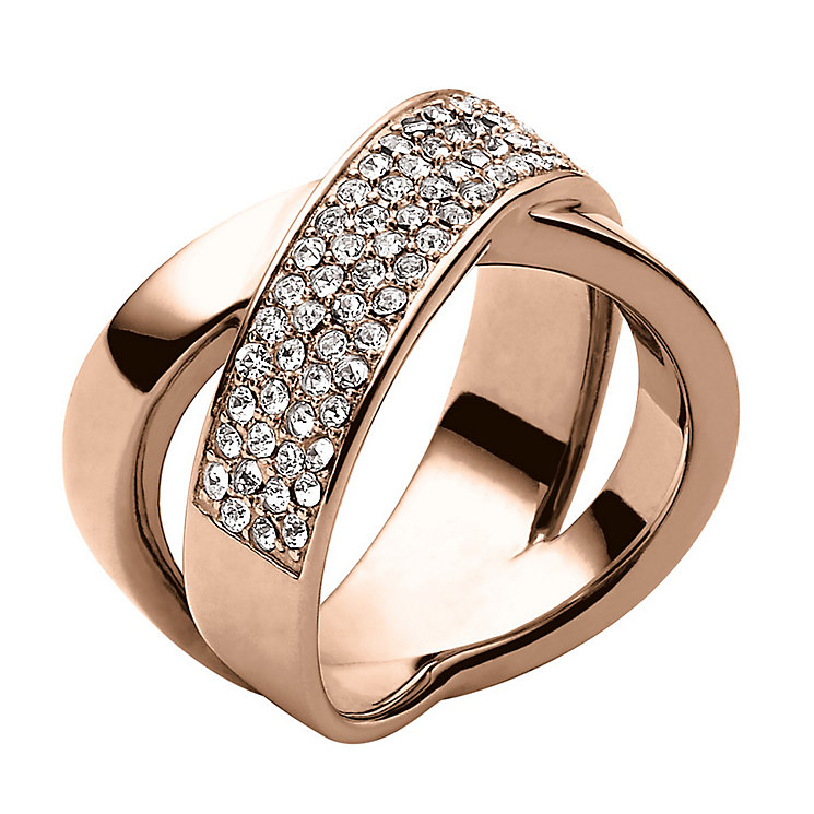Michael Kors Rose Gold Tone Stone Set Ring Size L1/2 - Product number 1736094