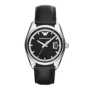 Emporio Armani men's black dial black leather strap watch - Product number 1736329