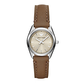 Emporio Armani ladies' brown leather strap watch - Product number 1736345