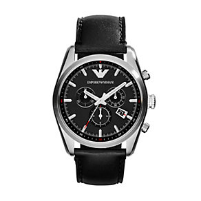 Emporio Armani men's black leather strap watch - Product number 1736426