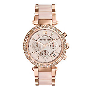Michael Kors ladies' rose gold-plated bracelet watch - Product number 1736442