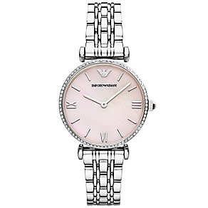 Emporio Armani Ladies' Stainless Steel Stone Set Strap Watch - Product number 1736493