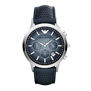 Emporio Armani men's blue dial blue leather strap watch - Product number 1736574