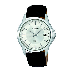 Seiko Men's Stainless Steel Black Leather Strap Watch - Product number 1736833