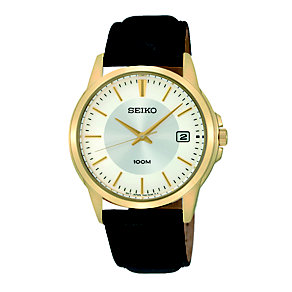 Seiko Men's Gold-Plated Black Leather Strap Watch - Product number 1736841