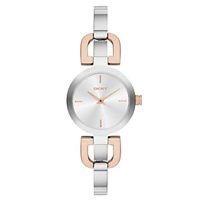 DKNY ladies' two colour D-link bangle watch - Product number 1737694