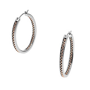 DKNY two colour stainless steel chain hoop earrings - Product number 1737945