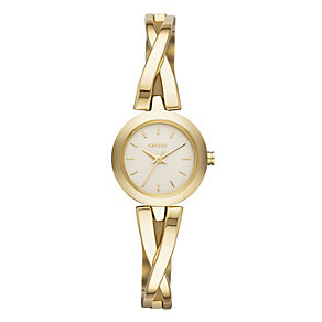 DKNY ladies' gold-plated crossover bangle watch - Product number 1738054