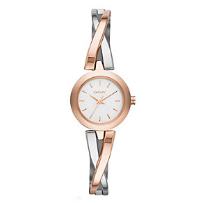Dkny Ladies' Two Colour Crossover Bangle Watch - Product number 1738062